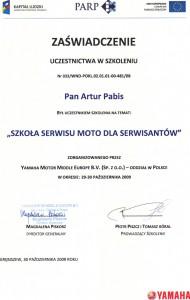 Certyfikat Yamaha